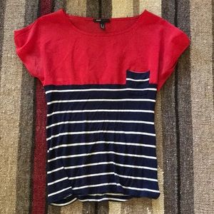 Small MNG Striped Red Blue White Tee